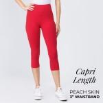 Wholesale mix brand solid seamless peach skin capri leggings rise waistband Ins