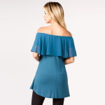 Wholesale women s Solid Color Shoulder Ruffle Tunic Top Pack Breakdown pcs pack