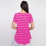 Wholesale striped fuchsia white short sleeve tunic top Pack Breakdown pcs pack S