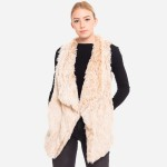 Wholesale faux fur vest pocket details One fits most Polyester
