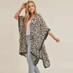 Wholesale women s Lightweight Leopard Print Kimono L Polyester