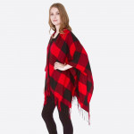Wholesale women s Buffalo Check Ruana Fringe Tassel One fits most L Acrylic