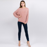 Wholesale solid Chenille Knit Sweater One fits most L Polyester