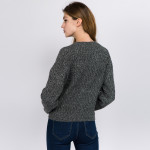 Wholesale solid Heather Knit Crop Sweater One fits most L Polyester