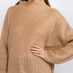 Wholesale solid Color Chunky Knit Turtleneck Sweater One fits most L Acrylic