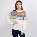 Wholesale soft Knit Fuzzy Sweater Geometric Print One fits most L Acrylic Polyes