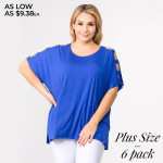Wholesale solid short sleeve oversized silhouette dolman sleeves cut out details