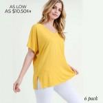 Wholesale ladies Solid Color Short Sleeve Oversized Tee Side Slit Details o Shor