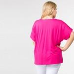 Wholesale plus Oversized V Neck Tee Side Slit Details PACK o Short sleeves v nec