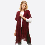 Wholesale women s Chenille Knit Shawl Fringe Tassel Trim One fits most L Polyest