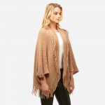 Wholesale women s Solid Color Chenille Knit Shrug Shawl Tassel Trim One fits mos
