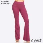 Wholesale solid color rise flare leggings Inseam o rise waist o Flare hem o Soft