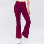 Wholesale women s Active Solid Color Rise Flare Yoga Athletic Pants o rise waist