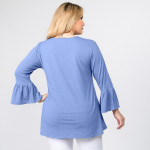 Wholesale women s Plus Solid Color Bell Sleeve Tunic Top Pack o bell sleeves o R