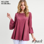 Wholesale women s Solid Color Bell Sleeve Tunic Top PACK o bell sleeves o Round