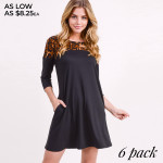 Wholesale women s Black Line Tunic Dress Leopard Print Shoulder Detail PACK o sl