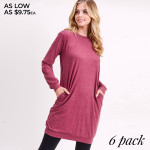 Wholesale women s Sweater Tunic Dress PACK o Long sleeves banded cuffs o Crew ne