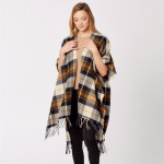 Wholesale do everything Love Brand Plaid Print Kimono Fringe Tassels One fits mo