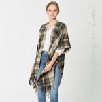Wholesale do everything Love Brand Plaid Print Kimono Fringe Tassels One fits mo