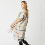 Wholesale do everything Love Brand Windowpane Plaid Print Kimono Fringe Tassels