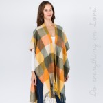 Wholesale do everything Love Brand Multi Checkered Kimono Fringe Tassels One fit