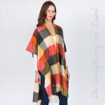 Wholesale do everything Love Brand Multi Checkered Kimono Fringe Tassels One fit