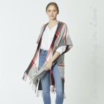 Wholesale do everything Love Brand Herringbone Plaid Print Kimono Fringe Tassels
