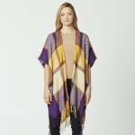 Wholesale do everything Love Brand Herringbone Plaid Print Kimono Fringe Tassels