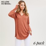 Wholesale women s Solid Color Long Sleeve V Neck Split Tunic Top PACK o Long sle