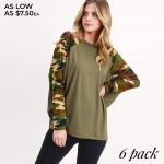 Wholesale women s Camouflage Domain Long Sleeve Top PACK o Camouflage dolman sle