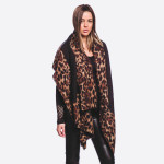 Wholesale soft touch leopard print border vest longest L Cotton Polyester