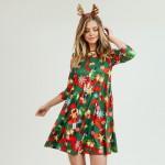 Wholesale women s Christmas nutcracker print Line dress pocket details o sleeves