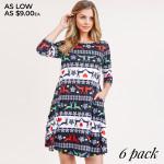 Wholesale women s Christmas fair isle reindeer print Line dress pocket details o
