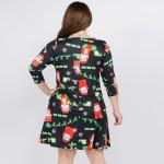 Wholesale women s Plus Sleeve Christmas Print Dress Pockets Pack o sleeves o Cre