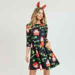 Wholesale women s Christmas Ho Ho Ho Santa print Line dress pocket details o sle