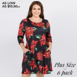 Wholesale women s plus Christmas poinsettia flower print Line dress pocket detai