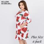 Wholesale women s plus Christmas poinsettia flower print Line dress pocket detai