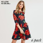 Wholesale women s Christmas poinsettia flower print Line dress pocket details o