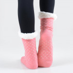 Wholesale adult Christmas assorted faux sherpa lined slipper socks o Snowman dot