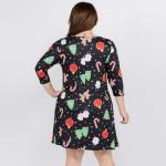 Wholesale women s plus gingerbread Christmas print line dress pocket details o s