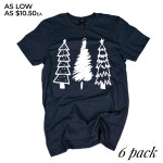 Wholesale navy Anvil short sleeve Christmas Tree printed boutique graphic tee Pa