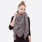 Wholesale houndstooth blanket scarf frayed edges Acrylic