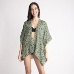 Wholesale women s Lightweight Leopard Print Ruffle Short Kimono One fits most L