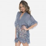 Wholesale women s Short Ruffle Kimono Multicolor Embroidered Details One fits mo