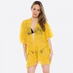 Wholesale women s Lightweight Floral Lace Ruffle Kimono One fits most L Polyeste