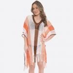Wholesale women s fringe tassel crochet stripe cover up top One fits most L Acry