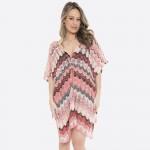 Wholesale women s wave patten crochet cover up top v neck side tie details One f