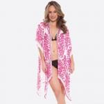 Wholesale women s Lightweight Animal Print Kimono Pom Pom Tassel Trim One fits m