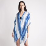 Wholesale women s Lightweight Distressed Striped Kimono One fits most L Viscose
