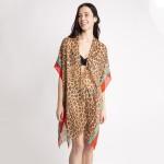 Wholesale women s Lightweight Leopard Print Color Stripe Kimono One fits most L